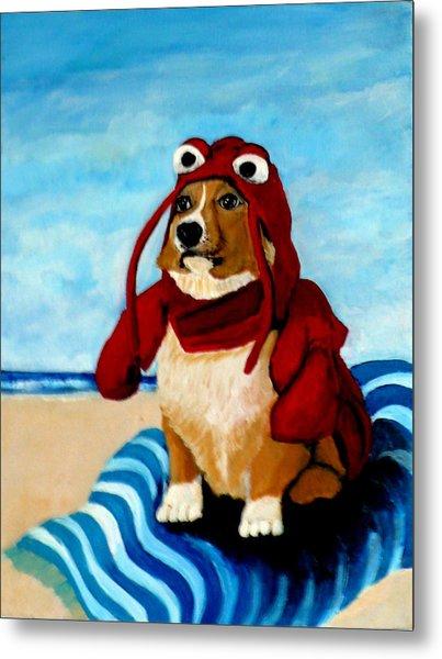 Lobster Corgi On The Beach Metal Print
