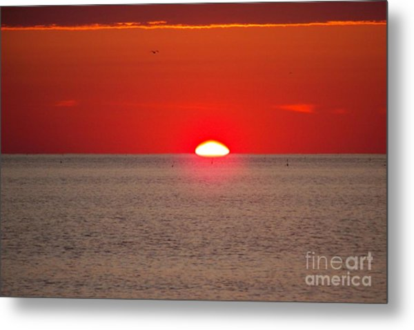 Lobster Pots Dance In The Sea  At Sunrise Metal Print