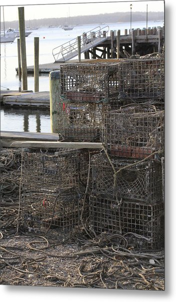 Lobster Pots Northport New York Metal Print