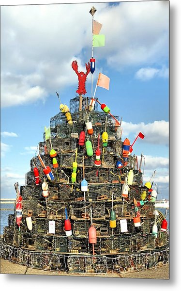 Lobster Traps Christmas Tree Metal Print