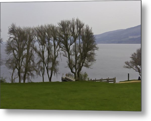 Loch Ness And Boat Jetty Next To Urquhart Castle Metal Print