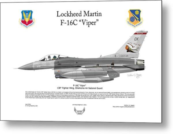 Lockheed Martin F-16c Viper Metal Print by Arthur Eggers