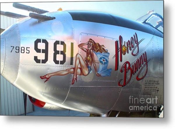Lockheed P-38l Lightning Honey Bunny Nose Art - 05 Metal Print
