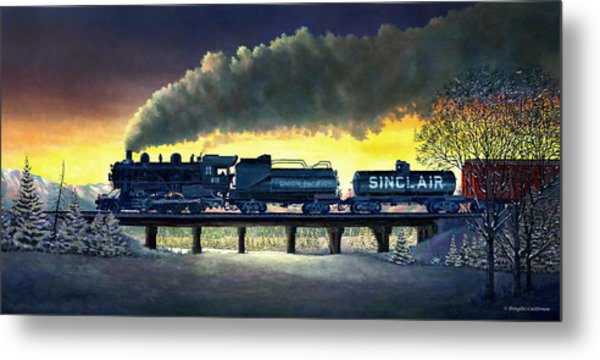 Locomotive In Winter Metal Print