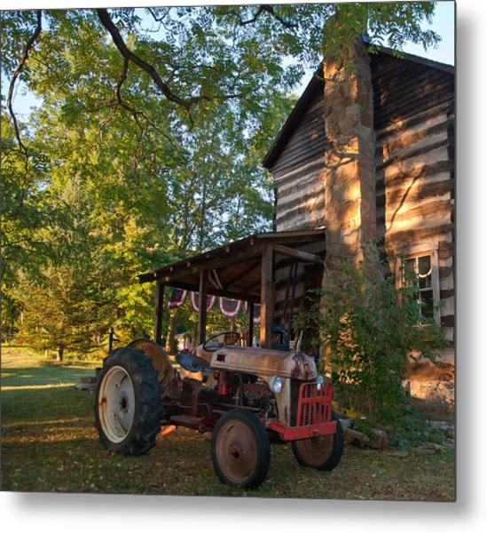 Log Cabin And Tractor Metal Print by Nickaleen Neff