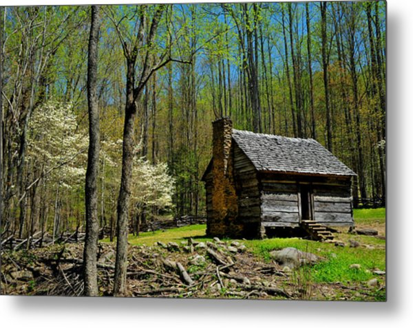 Log Cabin In The Smoky Mountain National Park Metal Print