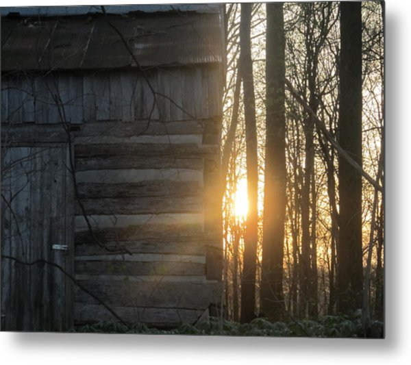 Log House Up Close And Sunset Metal Print