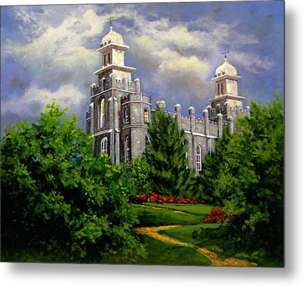 Logan Utah Temple Pathway To Heaven Metal Print