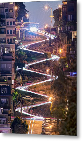 Lombard Street With Cable Car - San Francisco Metal Print