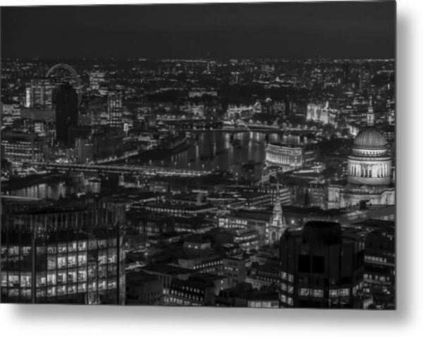London City At Night Black And White Metal Print