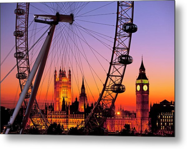 London Eye And Big Ben At Dusk Metal Print by Scott E Barbour