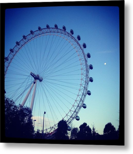 London Eye With Full Moon Metal Print by Maeve O Connell