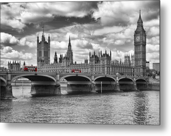 London - Houses Of Parliament And Red Buses Metal Print