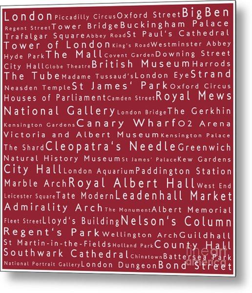 London In Words Red Metal Print