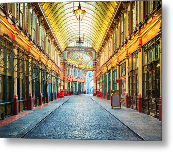 London Leadenhall Hall Market Street Arcade Metal Print by NicolasMcComber