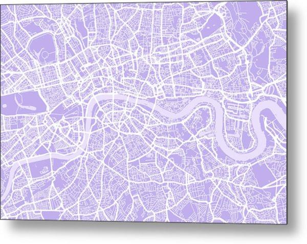 London Map Lilac Metal Print