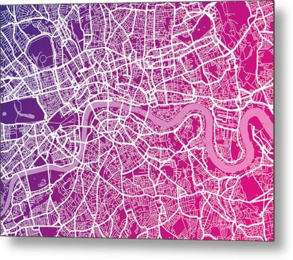 London Map Red Metal Print