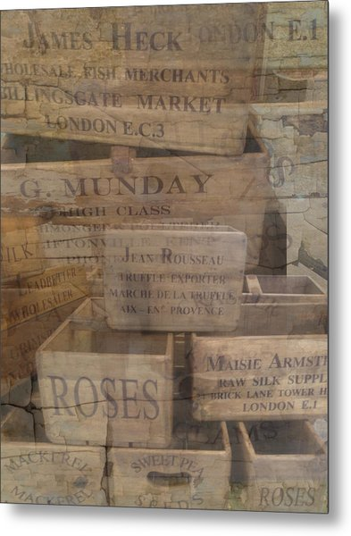 London Market Traders Crates Metal Print