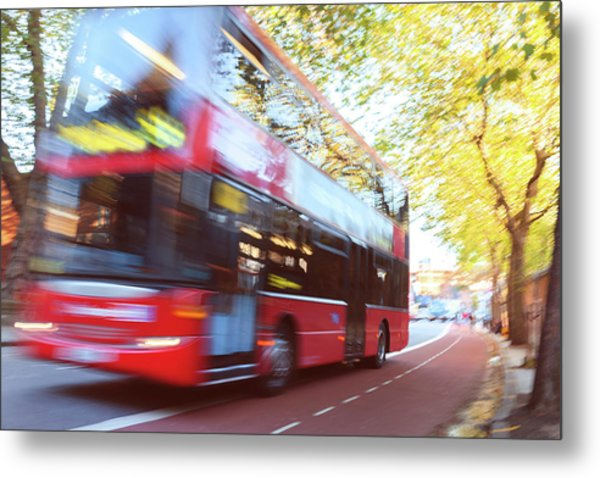 London Red Double Decker Bus Driving At Metal Print