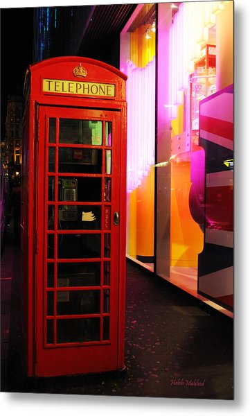 London Red Phone Booth Metal Print