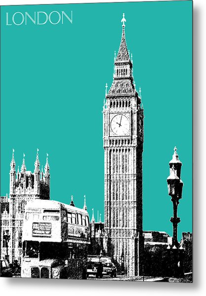 London Skyline Big Ben - Teal Metal Print
