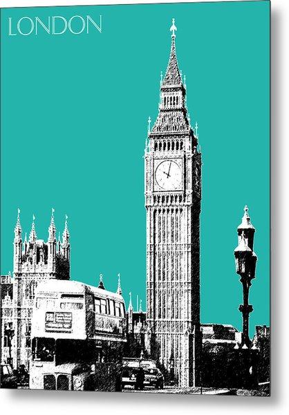 London Skyline Big Ben - Teal Metal Print