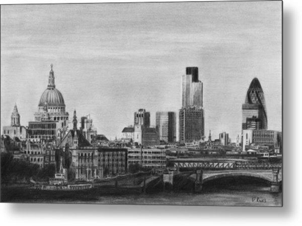 London Skyline Pencil Drawing Metal Print