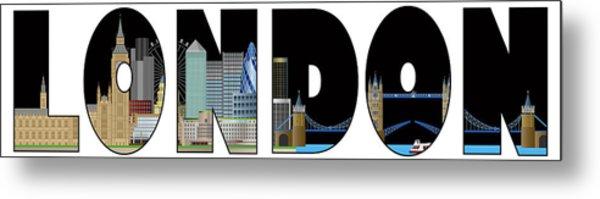 London Skyline Text Outline Color Illustration Metal Print