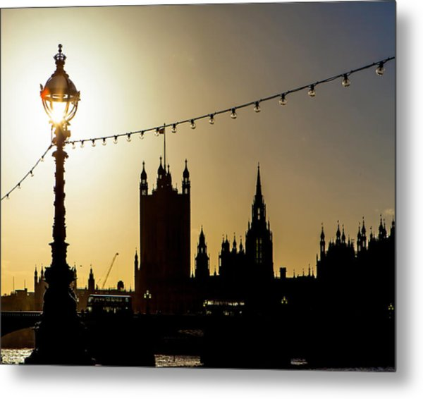 London South Bank Silhouette Metal Print