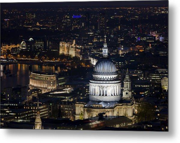 London St Pauls At Night Colour Metal Print