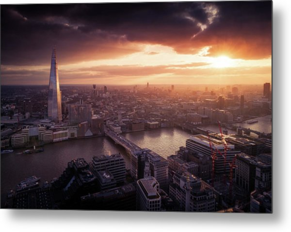 London Sunset View Metal Print by Dennis Fischer Photography