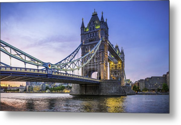 London Tower Bridge Illuminated At Sunset Over River Thames Panorama Metal Print by fotoVoyager