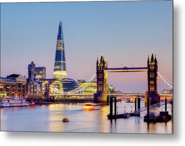 London, Tower Bridge, The Shard And Metal Print by Alan Copson
