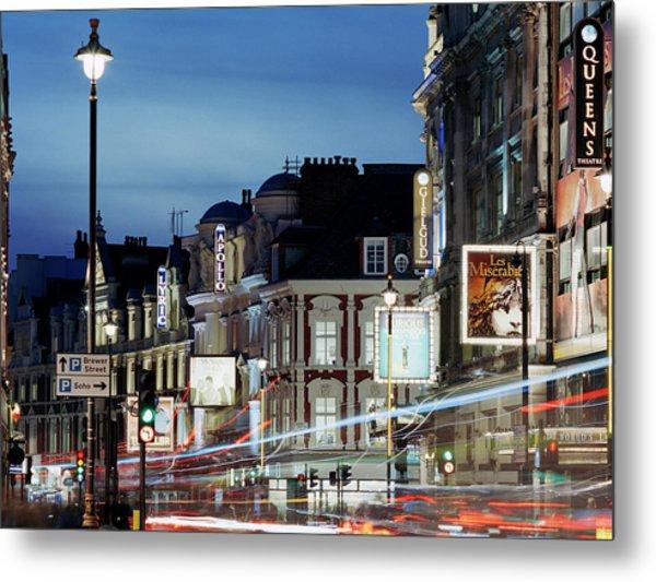 Londons Shaftesbury Avenue At Dusk Metal Print by Shomos Uddin