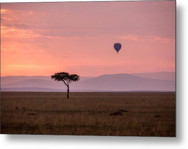 Lone Balloon Over The Masai Mara Metal Print