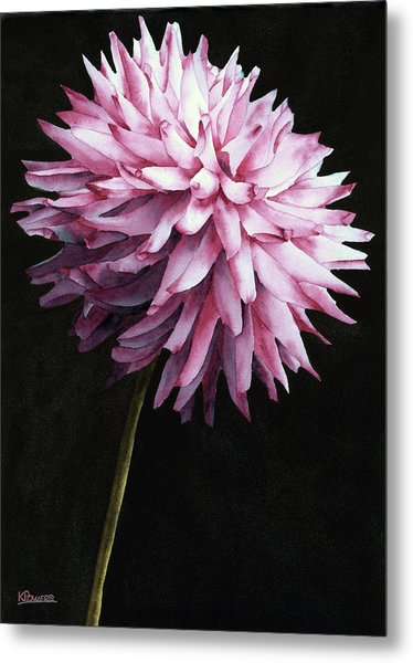 Metal Print featuring the painting Lone Dahlia by Ken Powers