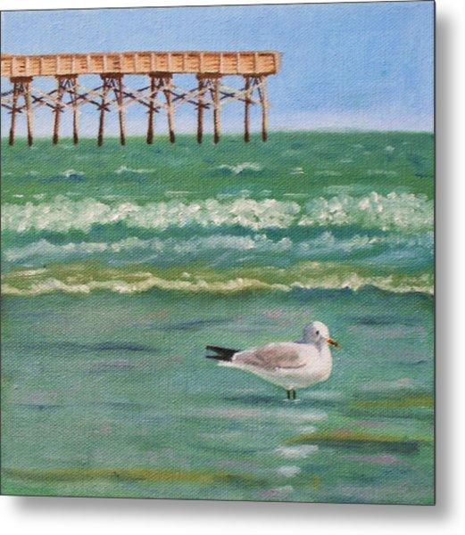 Lone Gull A-piers Metal Print