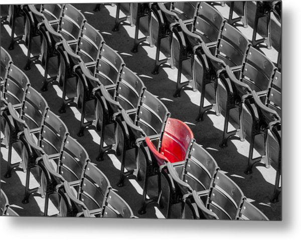 Lone Red Number 21 Fenway Park Bw Metal Print