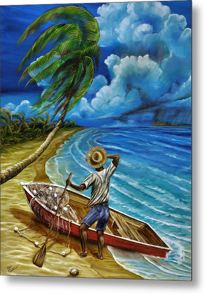 Metal Print featuring the painting Lonely Fisherman by Steve Ozment
