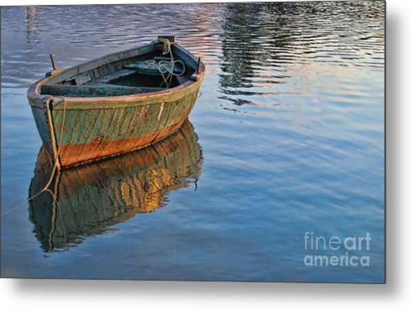 Lonely River Boat  Metal Print