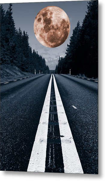 Lonely Road And Full Moon Metal Print