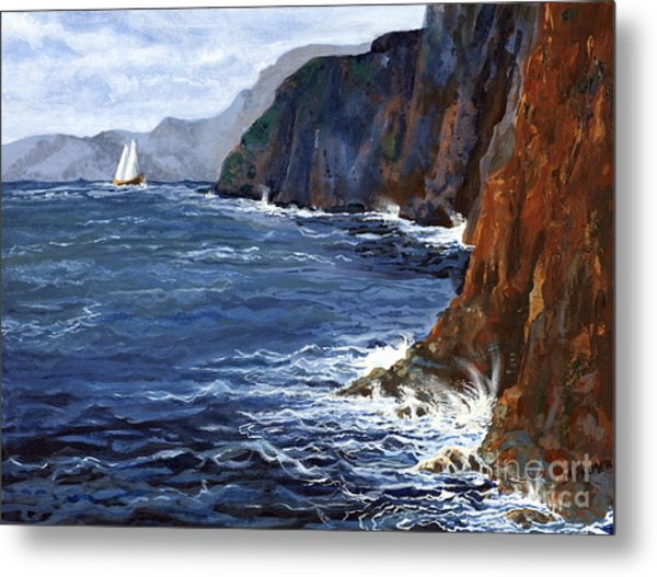 Lonely Schooner Metal Print