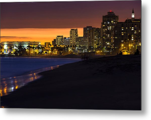 Long Beach Comes Alive At Dusk By Denise Dube Metal Print