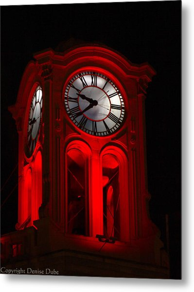 Long Beach Pine Ave. Clock Tower In Red Metal Print