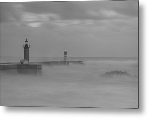 Long Exposure In Oporto In Bad Weather Metal Print