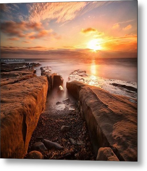 Long Exposure Sunset At A Rocky Reef In Metal Print by Larry Marshall