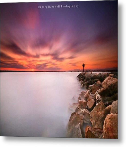 Long Exposure Sunset Shot At A Rock Metal Print by Larry Marshall