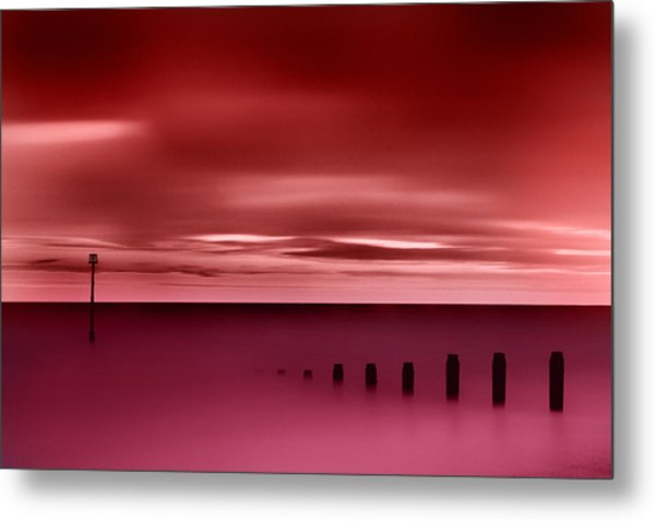 Long Red Sunset Metal Print