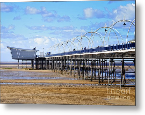 Long Seaside Pier At Southport - England Metal Print by David Hill