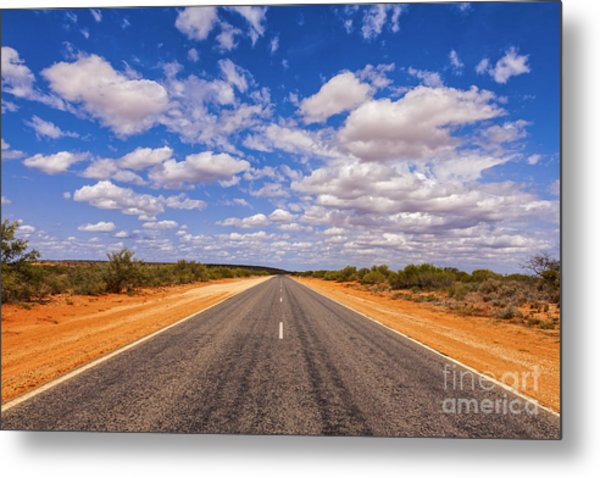 Long Straight Road Australia Outback Metal Print